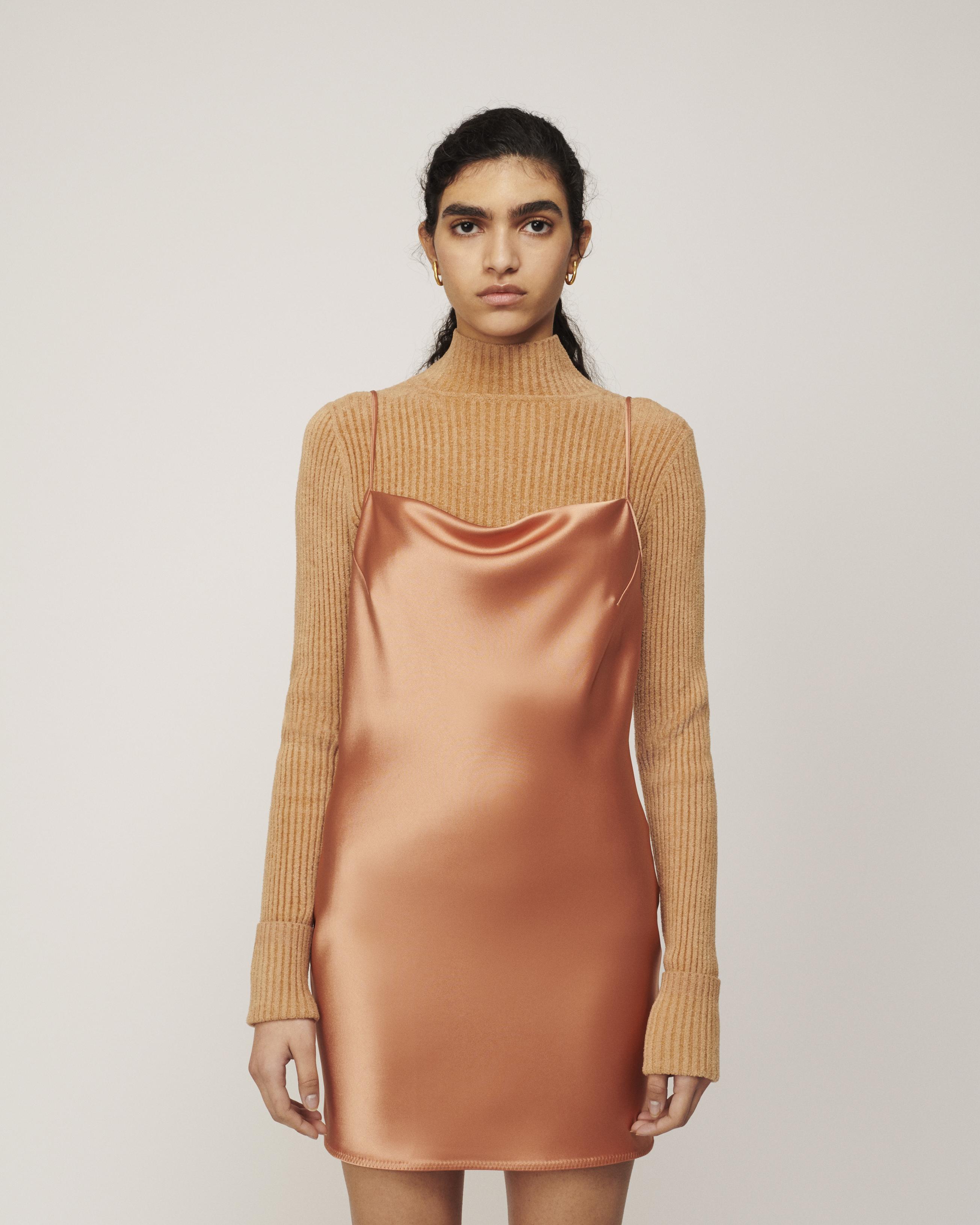 Nanushka LOTTI - Draped slip dress - Apricot - S